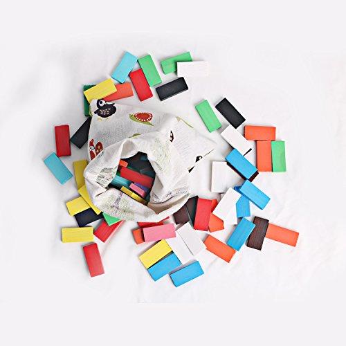 ULT-unite 120pcs Wooden Dominos Blocks Set, Kids Game Educat