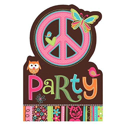 Amscan Hippie Chick Birthday Party Invitations Cards Supply (8 Pack), 6 1/4