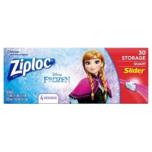Ziploc Brand Slider Storage Bags Featuring Disney Frozen Designs, Quart, 30 ct