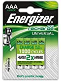 Energizer Recharge Universal Rechargeable AAA Batteries, 4 Pack