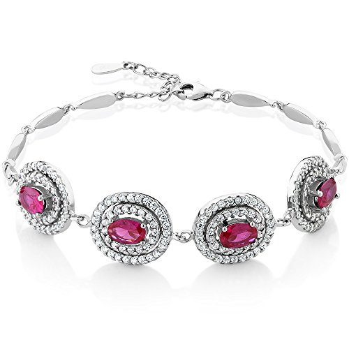 Gem Stone King Sterling Silver Created Ruby Tennis Bracelet (4.00 cttw, 7 inches with 1 inch Extender) ()