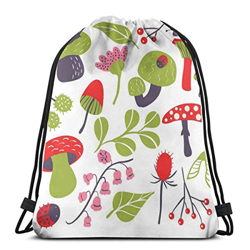 - Unisex Drawstring Bag Gym Bags Storage Backpack,Forest Figures Pink Toned Thistle Lily Of The Valley Berry And Snails