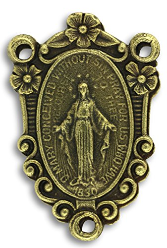 Miraculous Rosary Medal Centerpiece (LOT of 3 - Rosary Center Ornate Miraculous Medal Mary Bronze Centerpiece for Rosary 1