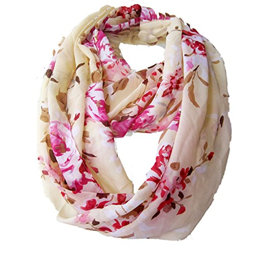Beety Colorful Premium Chiffon Soft Multicolor Charming Sheer Infinity Scarf (Floral Print/ Beige)
