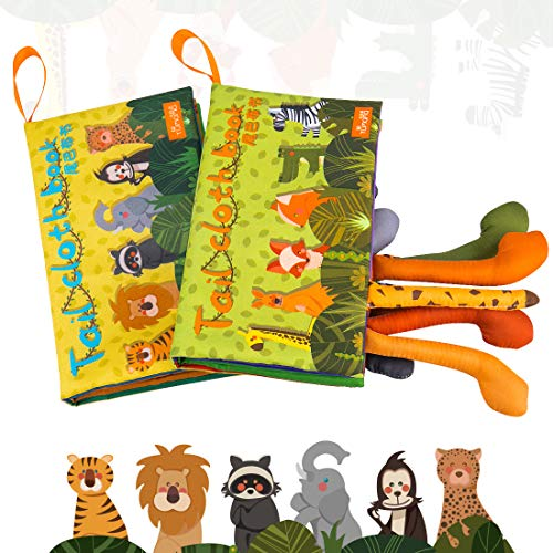 TUMAMA Baby Book Toys, Animal's Tails Nontoxic Fabric Baby Soft Cloth Books Early Education with BB Device for Babies, Toddler, Infants and Kids, Pack of -
