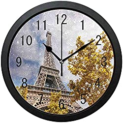 Silent Farmhouse Wall Clock-Kids Room Wall Clock-Sky Paris Eiffel Tower France Leaves Round Wall Clock Non Ticking Silent Clock Art for Living Room Kitchen Bedroom,10in
