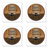 Lunarable Kalimba Coaster Set of Four, African