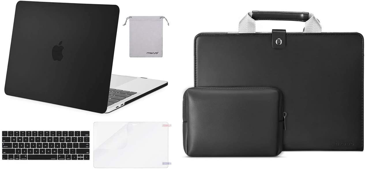 MOSISO MacBook Pro 13 inch Case 2019-2016 Release A2159 A1989 A1706 A1708, Plastic Hard Shell Case&Keyboard Cover & Laptop Briefcase, 13 inch Premium PU Leather Sleeve Handbag with Small Case