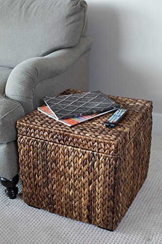 Awe Inspiring Birdrock Home Woven Storage Cube Abaca Seagrass Decorative Ottoman Living Room Side Table Store Blankets Pillows Magazines Books Remotes Gmtry Best Dining Table And Chair Ideas Images Gmtryco