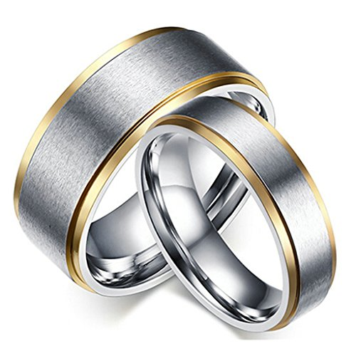 [Gnzoe Stainless Steel Rings 2Pcs Brushed Couple Rings Wedding Bands Promise Ring] (Paper Bag Princess Couples Costume)