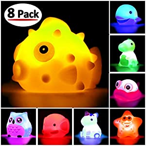 51rC1G8ckyL. SS300  - Bath Toys, 8 Pcs Light Up Floating Rubber animal Toys set, Flashing Color Changing Light in Water, Baby Infants Kids…
