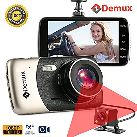 DEMUX Dual Dash Cam Front and Rear | Dual Lens Dashboard Camera with Night Vision | Car DVR | Vehicle Video Recorder | Full HD 1080P, Parking Mode, G-Sensor, Motion Detection, 290° Wide Angle, 4