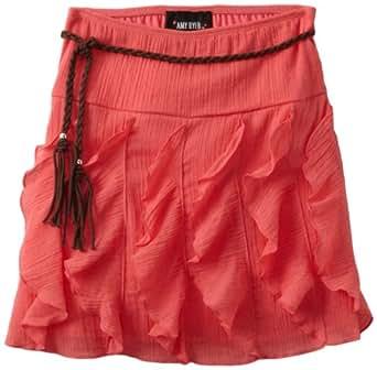 Amy Byer Big Girls' Gauze Ruffle Skirt, Coral, Small