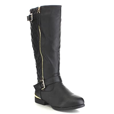 TOP Moda LAND-99 Women's Quilted Knee High Low Heel Riding Boots | Shoes