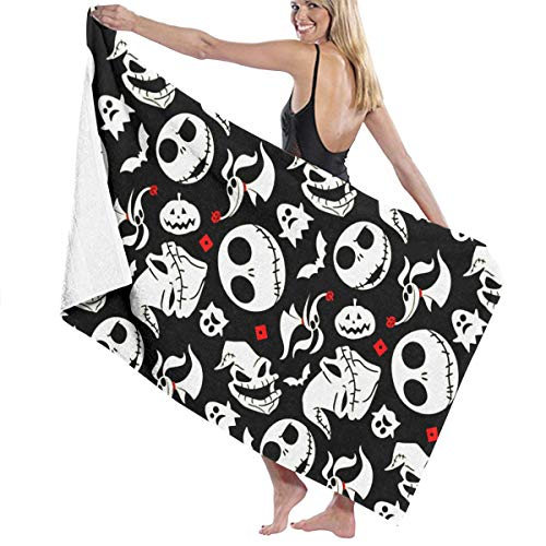 NASNFS Luxury Bath Towel Set Jack-Skellington Printing Washcloths Bathroom Quality Extra Large Bath Towel Beach, Travel, Bathtub, Quick Drying, Pool Gym Towels -