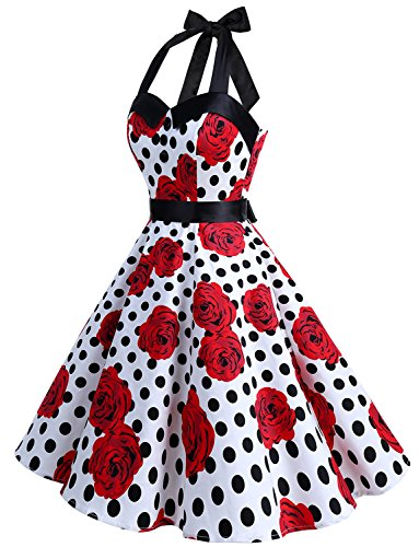 2ba1344d34f Dressystar Vintage Polka Dot Retro Cocktail Prom Dresses 50 s 60 s Rockabilly  Bandage White Black Rose XXL