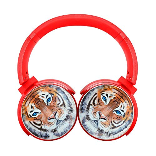 Cool Tiger Blue Eyes Art 3D Printed Wireless Retractable Bluetooth Headphones Headsets Over Ear for Kids Or Adults Red