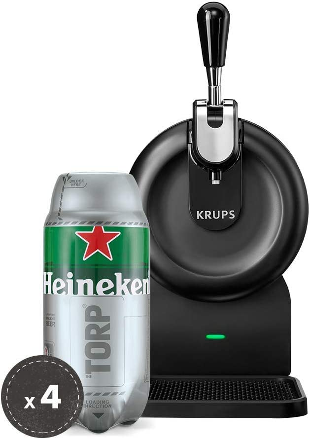 Pack Heineken THE SUB | Tirador de cerveza de barril THE SUB Compact Edition + 4 TORP Heineken barril de cerveza de 2 litros