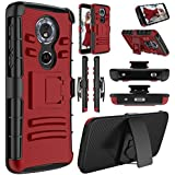 Moto G6 Play Case, Moto E5 Case, Elegant Choise Hybrid Heavy Duty Shockproof Rugged Holster Full Body Protective Case with Kickstand and Swivel Belt Clip for Motorola Moto Moto G Play 6th Gen (Red)