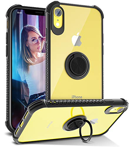 iPhone Xr Case, Daupin Clear iPhone Xr Case with 360 Rotatable Ring Kickstand Magnetic Mental Car Mount Transparent Hard PC Shockproof Protective Soft Bumper TPU Case for Women Men (Black)