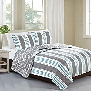 St. Croix Collection 3-Piece Coastal Beach Theme Quilt Set with Shams. Soft All-Season Luxury Microfiber Reversible Bedspread and Coverlet. By Home Fashion Designs Brand. (Full/Queen)