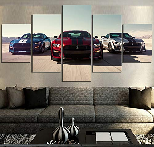 (WUliuqi 5 Piece Hd Luxury Cars Pictures Print Ford Mustang Shelby Gt500 Poster Canvas Art Decorative Paintings for Home Decor Wall Art)