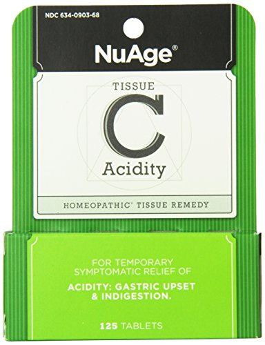 NuAge Homeopathic Tissue C Acidity Remedy, Natural Relief of Gastric Upset and Indigestion, 125 Count (Tissue Hylands Nuage Salts)