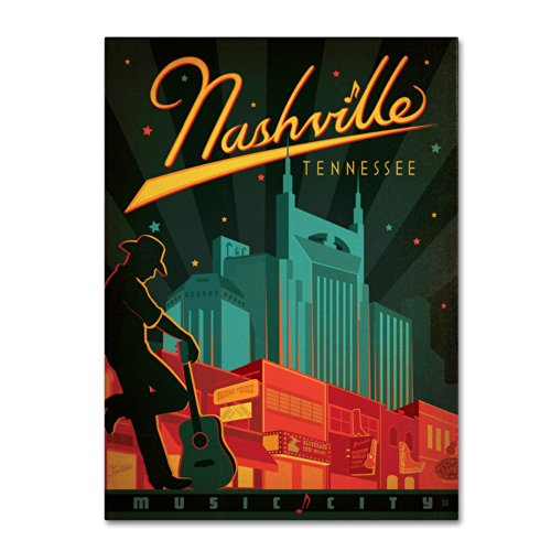Nashville, TN Artwork by Anderson Design Group, 35 by 47-Inch Canvas Wall - Warehouse Nashville Mens