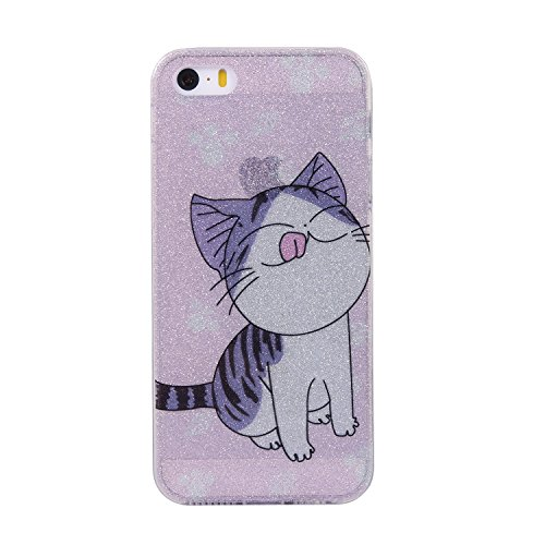 iPhone 5 Bling Case, iPhone 5S Bling Case, iPhone SE Cover, BONROY® Ultra-Thin Soft Gel TPU Silicone Case For iPhone SE 5S 5, Luxury Glitter Sparkle Perfect Fit Slim Sturdy Bumper Scratch Resist Prote kitten