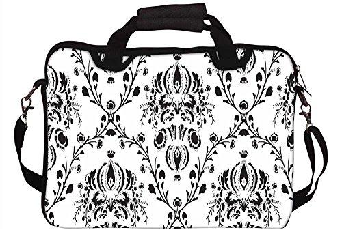 Snoogg grau Muster weiß 30,5cm 30,7cm 31,8cm Zoll Laptop Notebook Computer Schultertasche Messenger-Tasche Griff Tasche mit weichem Tragegriff abnehmbarer Schultergurt für Laptop Tablet PC Ultraboo