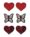 iHeartRaves Love Comes First, Butterfly & Heart Rave Pasties (3 Pack/6 Total Pasties)