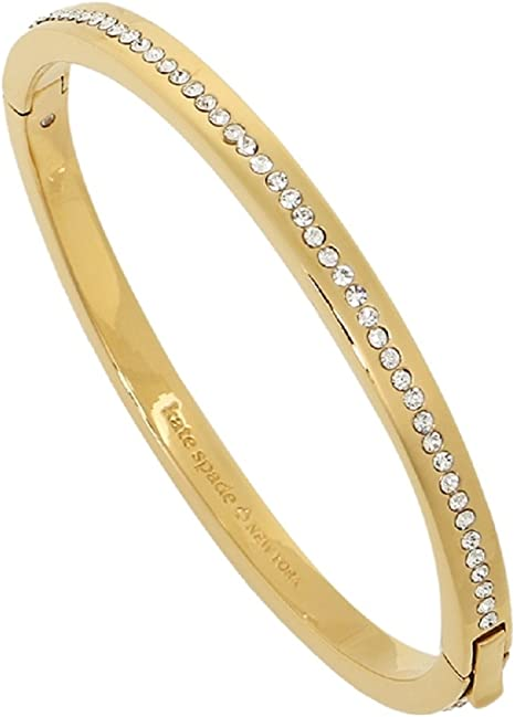 Gold Tone Center Pave Logo Hinged Bangle Bracelets Clear Crystal Glass Stone