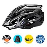 Bike Helmet IMAGE Cycling Helmet for Road Racing, Adjustable Lightweight Breathable CPSC Mountain Bicycle Helmet with 1 Detachable Visor and 2 Inner Linings for Adult Youth Children Riding Matte Black
