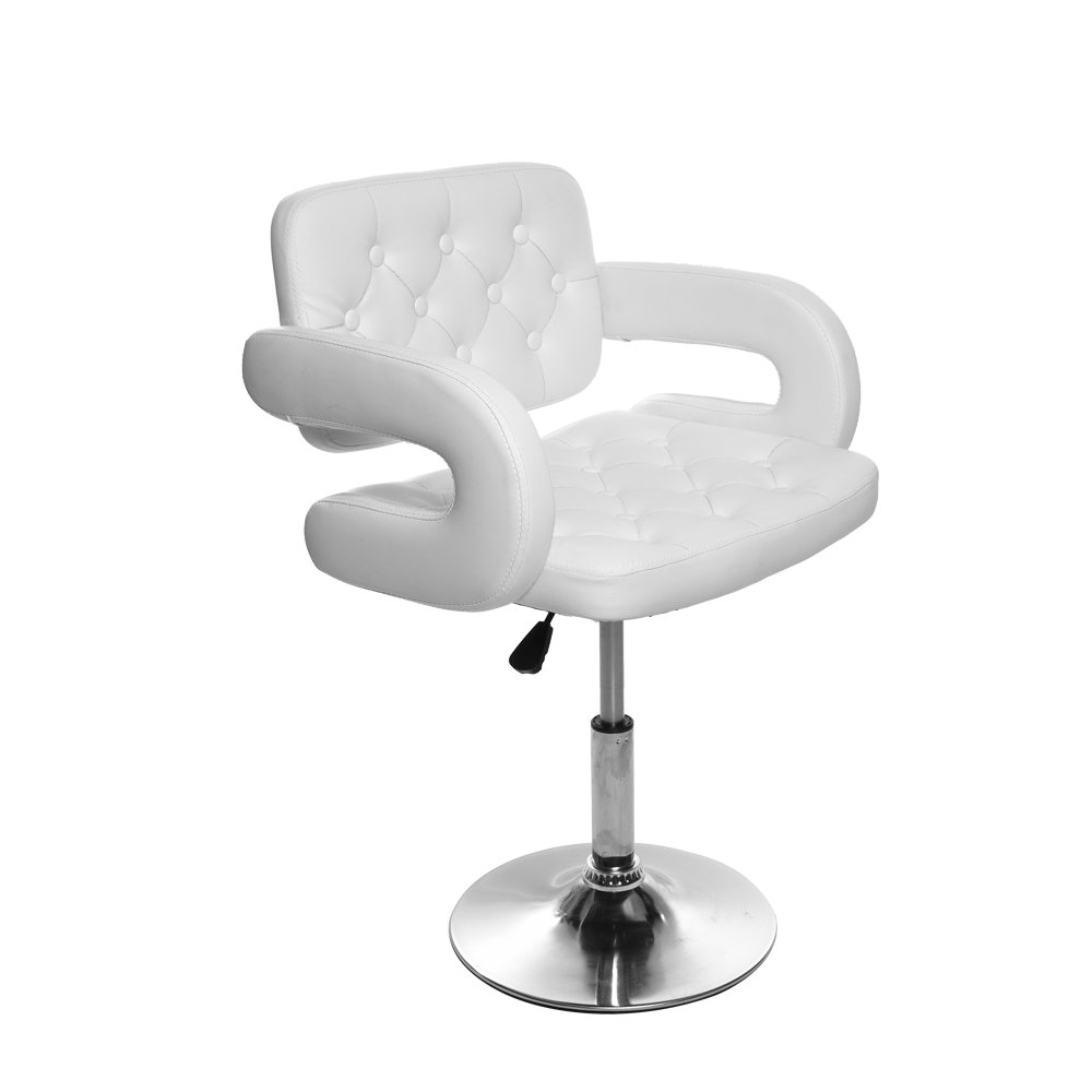 Beauty Salon Barber Chair Hydraulic Hair Styling Hairdressing Chair Height Adjustable PU Leather White Targos