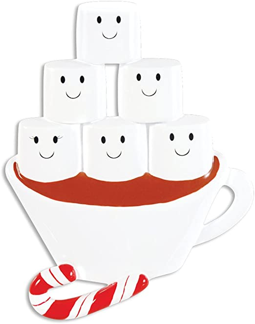 5 Family Personalized Marshmallow Ornament Hot Chocolate Friends 2019 Snowflake Christmas Ornament for Family