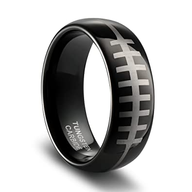 e48234ca55587 TUSEN JEWELRY Sports-Symbology NFL Tungsten Ring with Engraved ...
