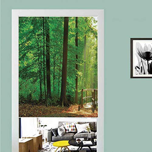 3D printed Magic Stickers Door Curtain,Apartment Decor,A Natural Trail and Wooden Walkway lit by Sun Beams Leading into the Woods in Forest Decorative, ,Privacy Protect for Kitchen,Bathroom,Bedroom(1