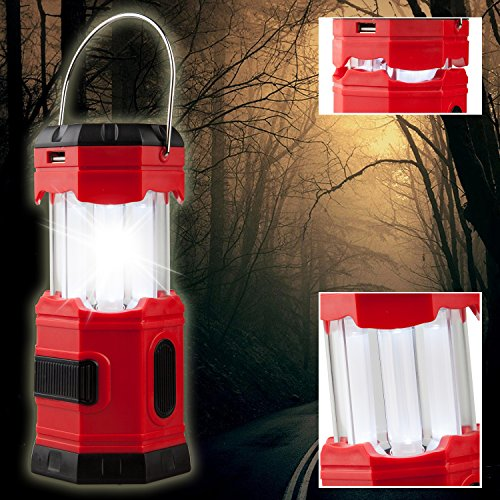 【4 PACK】TANSOREN Solar USB Rechargeable or 3 AA Power Supply LED Camping Lantern Flashlight with DC Charging Line and''S'', Survival Light for Camping, Hiking, Reading, Hurricane, Power Outage by TANSOREN (Image #5)