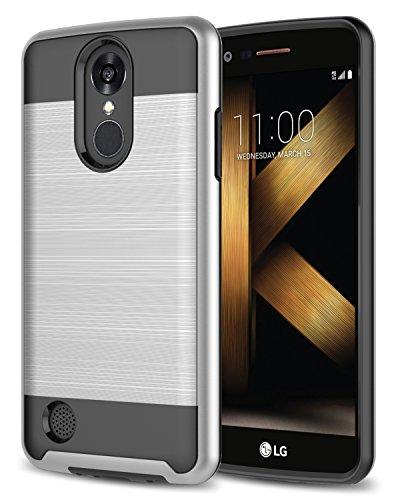 LG K20 Plus Case, LG K20 V Case, LG Harmony Case, LG Grace Case, Rosebono 2-Piece Style Slim Brush Texture Protective Hybrid Defender Armor Case Cover for LG K20 Plus / LV5 - Silver - Inner Grace Skin Care At