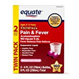 Equate Childrens Acetaminophen Bubblegum Suspension, 160 mg, 4 Oz, 2 Pk