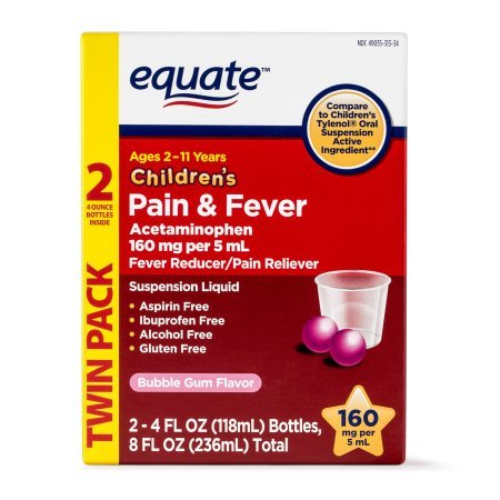Equate Childrens Acetaminophen Bubblegum Suspension, 160 mg, 4 Oz, 2 ()