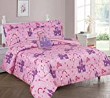 Elegant Home Multicolor Pink Purple Princess Palace Castle Design 8 Piece Comforter Bedding Set for Girls / Kids Bed In a Bag With Sheet Set & Decorative TOY Pillow # Princess Palace 2 (Full Size)