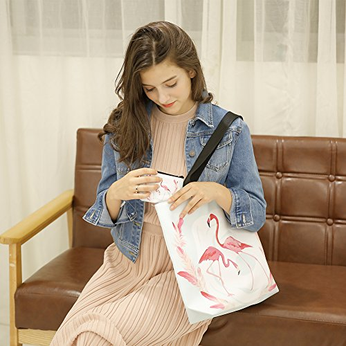 Ladies Color1 with 11 Zipper Beach Tote Bag Wallet with Flamingo Matching Waterproof Bag r8wHr