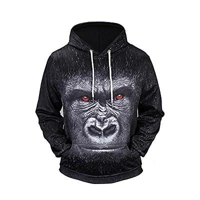 Premium Hoodies Sweaters,ZYooh Men Long Sleeve 3D Graphic Printed Pullover Hooded Sweatshirt