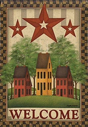 Saltbox House Folk Art (BreezeArt Saltbox Houses Garden Flag 31337)