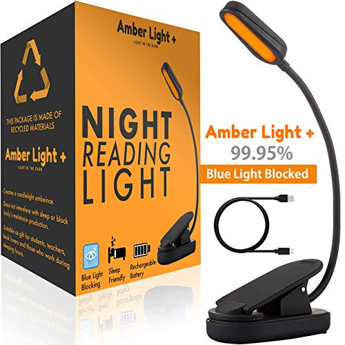 Holiday Giftable Amber Light - Rechargeable Blue Light Blocking Reading Light | Warm LED Light for Strain-Free, Healthy Eyes | Base Clamp for Hands-Free Use On The Go | Perfect for Readers, Students (Bed Christmas In)