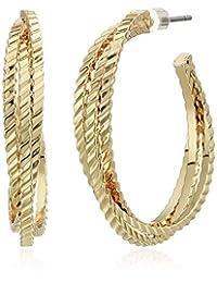 Napier Women's Gold-Tone Open Twist Hoop Earrings