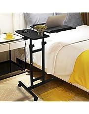 Overbed Table Rolling Laptop Table Over Bed Desk Lap Desk for Laptop Rolling Cart Tilting Overbed Bedside Table Overbed Desk Overbed Table with Wheels Adjustable Laptop Stand Sofa Side Table