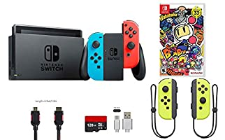 Nintendo Switch Bundle (7 items): 32GB Console Neon Red Blue Joy-con, 128GB Micro SD Card, Nintendo Joy-Con (L/R) Wireless Controllers Yellow, Super Bomberman R, Type C Cable, HDMI Cable Wall Charger