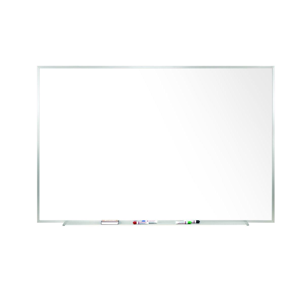 48.5'' x 120.5''  Aluminum Frame Porcelain Magnetic Whiteboard, 1 Marker, 1 Eraser